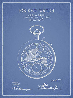Alarm Clock Drawing - Pocket Watch Patent From 1916 - Light Blue by Aged Pixel