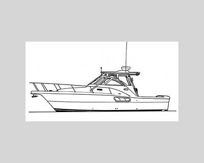 Western Yachting Drawing - Pocket Yacht Profile by Jack Pumphrey