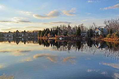 Mountain Reflection Lake Summit Mirror Photograph - Pocono Summit Lake by Gary Keesler
