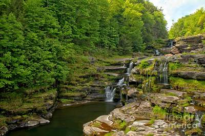 Photograph - Poconos Ledges Waterfall by Adam Jewell