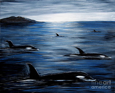 Sailing At Night Painting - Pod On A Mission by Barbara Griffin