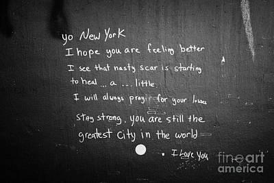 Poem Left By Wellwisher Ground Zero New York City Art Print by Joe Fox