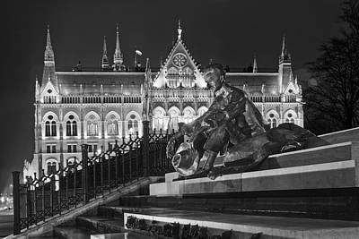 Budapest Hungary Photograph - Poet And Parliament by Joan Carroll