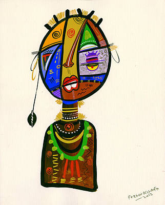 Uganda Painting - Poetic Faces by Oglafa Ebitari Perrin