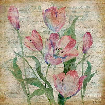 Tulips Watercolor Wall Art - Painting - Poetic Garden II by Paul Brent