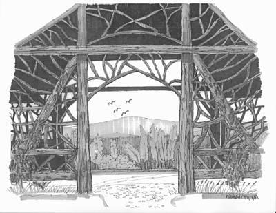 Hudson River Drawing - Poet's Walk 2 by Richard Wambach