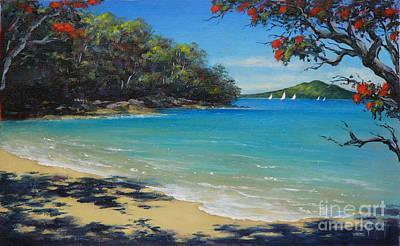 Painting - Pohutukawa Nz - Beach And Rangitoto  by Jennifer Cruden