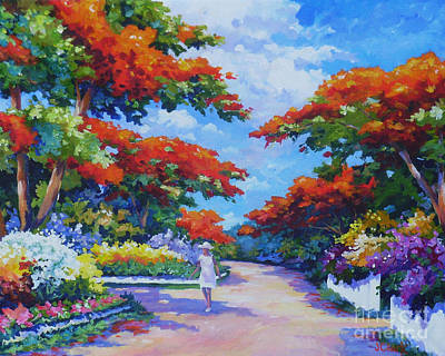 Caribbean Sea Painting - Poinciana Paradise  20x16 by John Clark