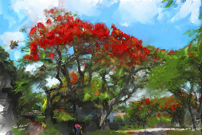 Art Print featuring the painting Poinciana Trees Of Coral Gables by Ted Azriel