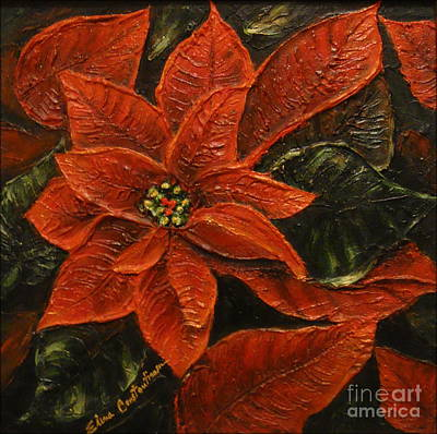 Painting - Poinsettia 2 by Elena  Constantinescu