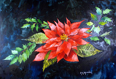 Painting - Poinsettia And Holly 2012 by Ken Marsden