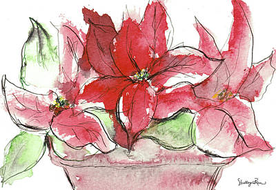 Painting - Poinsettia Bowl by Shelley Bain