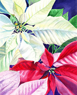 Christmas Greeting Painting - Poinsettia Christmas Collection by Irina Sztukowski
