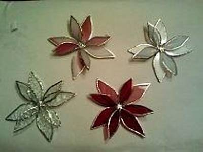 Glass Art - Poinsettia Christmas Tree Ornaments by Liz Lowder