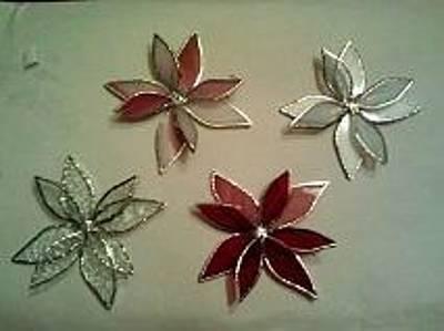 Glass Art - Poinsettia Christmas Tree Ornaments by Liz Lowder