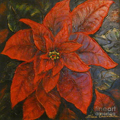 Painting - Poinsettia/ Christmass Flower by Elena  Constantinescu