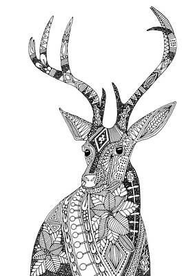 Holidays Drawing - Poinsettia Deer Black White by Sharon Turner