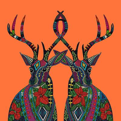 Poinsettia Deer Spiced Orange Art Print