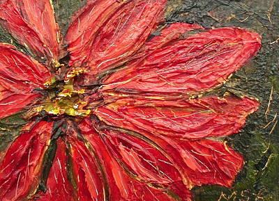 Poinsettia Sgraffito  Art Print by Maria Soto Robbins