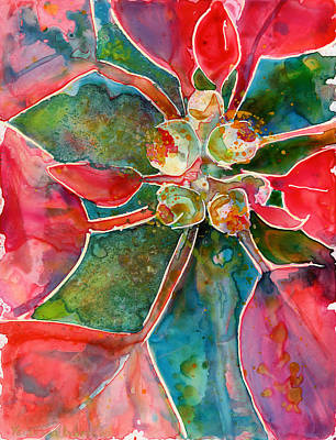 Watercolor Painting - Poinsettia by Yevgenia Watts