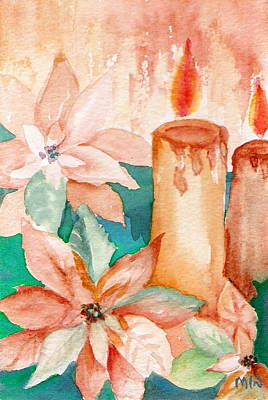 Painting - Poinsettias And Candlelight by Marsha Woods