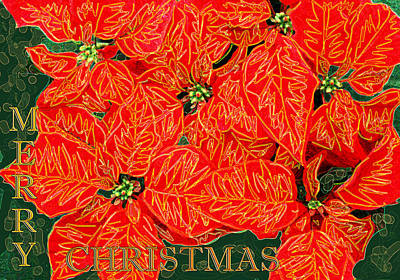 Digital Art - Poinsettias Merry Christmas by Stephanie Grant