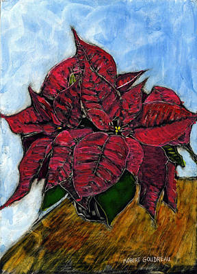 Poinsettias Art Print by Robert Goudreau