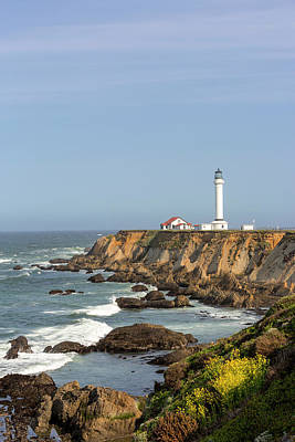 Point Arena Lighthouse On Cliffs Art Print by Chuck Haney
