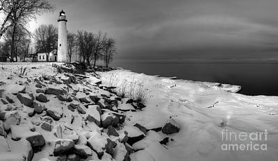 Lake Huron Photograph - Point Aux Barques Lighthouse Black And White by Twenty Two North Photography