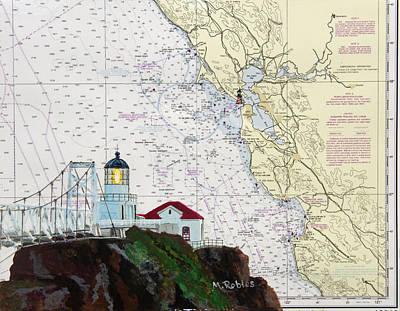 Painting - Point Bonita Lighthouse On Noaa Nautical Chart by Mike Robles