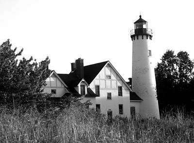 Photograph - Point Iroquois Lighthouse In B/w by Sharon McLain