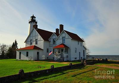Point Iroquois Lighthouse On Whitefish Bay Michigan Art Print by Terri Gostola