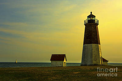 Transportation Royalty-Free and Rights-Managed Images - Point Judith Lighthouse by Diane Diederich