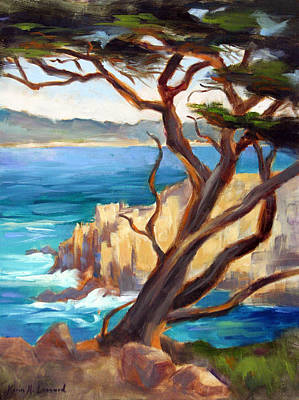 Point Lobos Painting - Point Lobos Cypress by Karin  Leonard