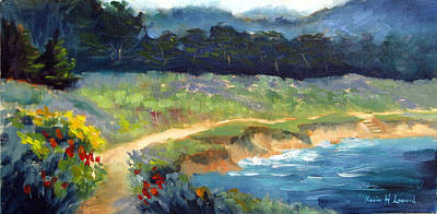 Iconic Painting - Point Lobos Trail by Karin  Leonard
