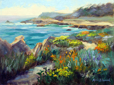Iconic Painting - Point Lobos Wildflowers by Karin  Leonard