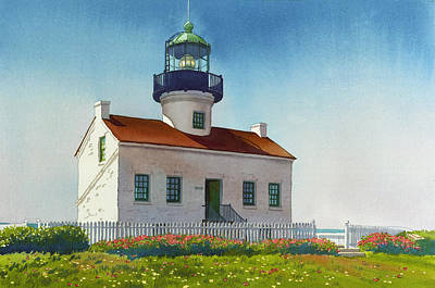 Lighthouse Wall Art - Painting - Point Loma Lighthouse by Mary Helmreich
