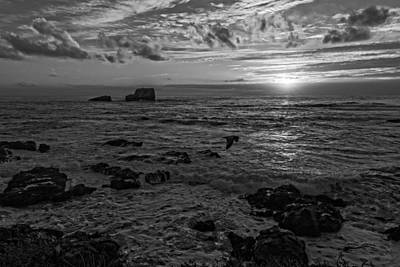Photograph - Point Piedras Blancas Sunset Variation Black And White by Jim Moss