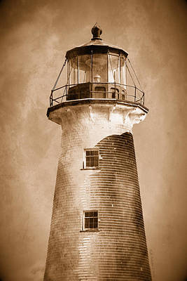 Photograph - Point Prim Lighthouse Sepia by WB Johnston