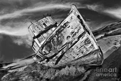 Photograph - Point Reyes Abandoned Boat Black And White by Blake Richards