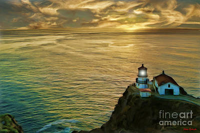 Photograph - Point Reyes Light House Yellow Clouds by Blake Richards