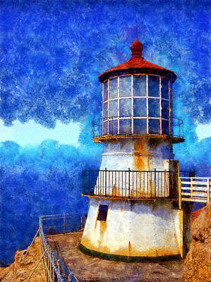 Digital Art - Point Reyes Lighthouse Close Up by Kaylee Mason