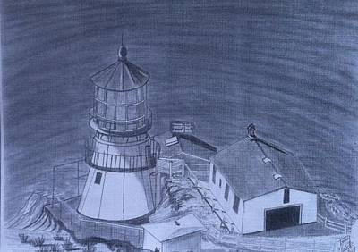 Lighthouse Drawing - Point Reyes Lighthouse by Tony Clark