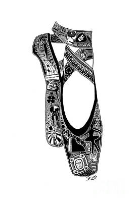 Sharpie Art Drawing - Point Shoes by The Art Of Rido