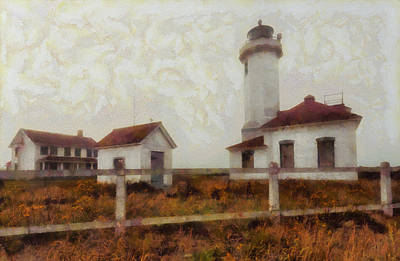 Lighthouses Mixed Media - Point Wilson Lighthouse by Mark Kiver