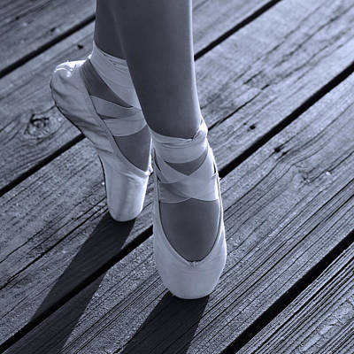 Wood Grain Photograph - Pointe Shoes Bw by Laura Fasulo