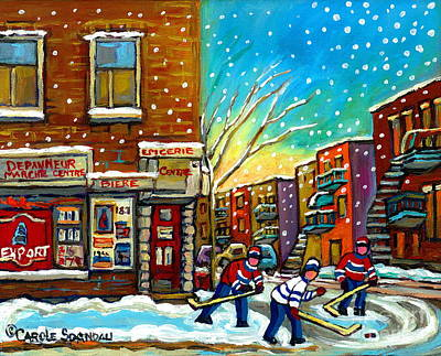Pointe St. Charles Hockey Game At The Depanneur Montreal City Scenes Art Print by Carole Spandau