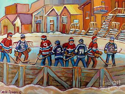 Row Houses.winter Scene Painting - Pointe St. Charles Hockey Rinks Near Row Houses Montreal Winter City Scenes by Carole Spandau