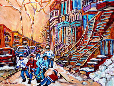 Pointe St.charles Hockey Game Near Winding Staircases Montreal Winter City Scenes Art Print by Carole Spandau