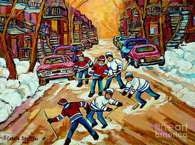 Montreal Streets Painting - Pointe St.charles Hockey Game Winter Street Scenes Paintings by Carole Spandau